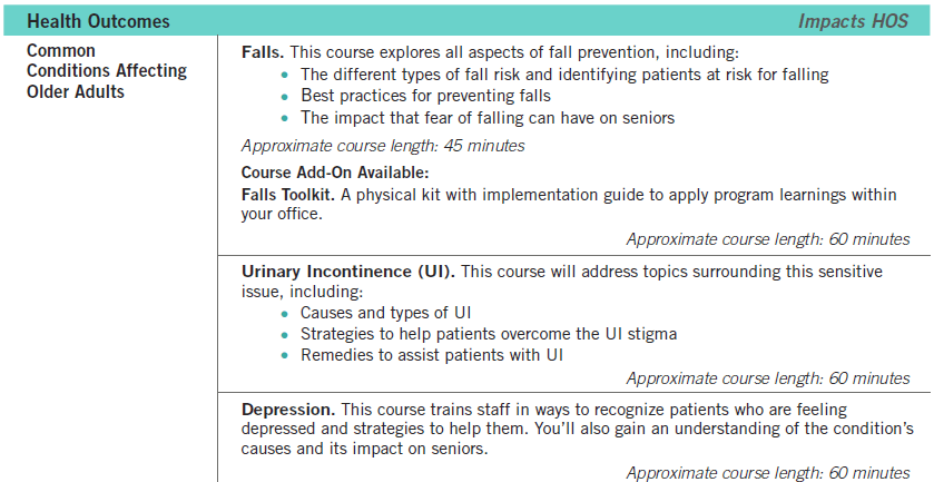 Health Outcomes Course Description
